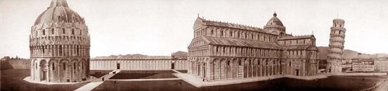 El conjunto de la Piazza dei Miracoli en 1909.
