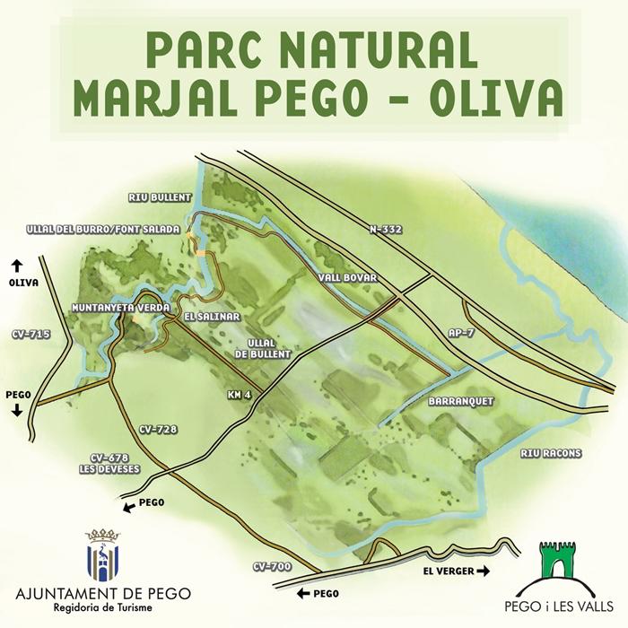 Mapa de situación del Marjal de Pego-Oliva