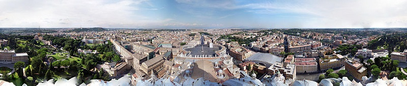 Vista desde la Cúpula de San Pedro de Roma.