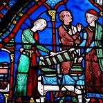 Vitral de Santiago El Mayor de la Catedral de Chartres Wikipedia Commons by Mossot